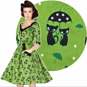 Voodoo Vixen Katnis cat dress green L HEMMED